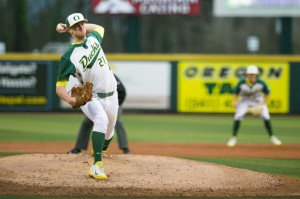 Oregon left-handed pitcher Matt Krook (21) pitches the ball during the top of the first inning. The Oregon Ducks host the Ohio State Buckeyes at PK Park on March 8, 2014. (Taylor Wilder/Emerald)