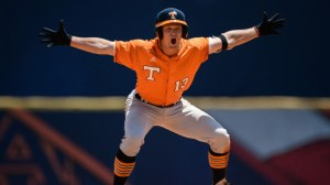 HOOVER, AL - MAY 20, 2014 - Infielder Nick Senzel #13 of the Tennessee Volunteers shows emotion during the postseason SEC Tournament game between the Tennessee Volunteers and the Vanderbilt Commodores at Hoover Met Stadium in Hoover, AL. Photo By Donald Page/Tennessee Athletics