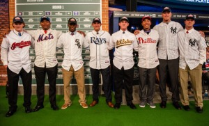 NEW YORK, NY - JUNE 6:  (L-R) Clint Frazier, Dominic Smith, Tim Anderson, Nicholas Ciuffo, Billy McKinney, J.P. Crawford, Aaron Judge, and Ian Clarkin pose for a group photo during the 2013 First-Year Player Draft at MLB Network's Studio 42 on June 6, 2013 in Secaucus, New Jersey. (Photo by Paige Calamari/MLB Photos via Getty Images)