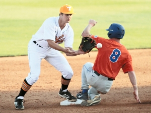 Daryl Sullivan | The Daily Times 5/16/14 Florida's Harrison Bader (8) beats the throw to Tennessee's Nick Senzel at second in the fifth inning.