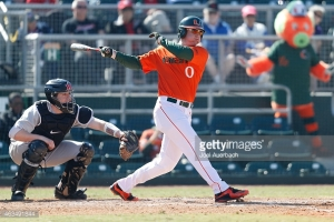 CORAL GABLES, FL - FEBRUARY 14: Zack Collins #0 of the Miami Hurricanes hits a double scoring three runs against the Rutgers Scarlet Knights in the second inning on February 14, 2015 at Alex Rodriguez Park at Mark Light Field in Coral Gables, Florida. Miami defeated Rutgers 9-5. (Photo by Joel Auerbach/Getty Images) *** Local Caption *** Zack Collins